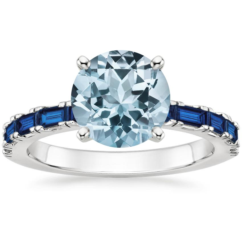 Aquamarine Gemma Ring with Sapphire Accents in Platinum