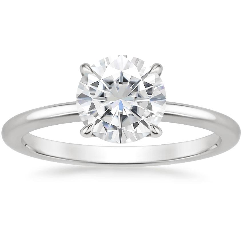 Moissanite Secret Halo Diamond Ring in Platinum