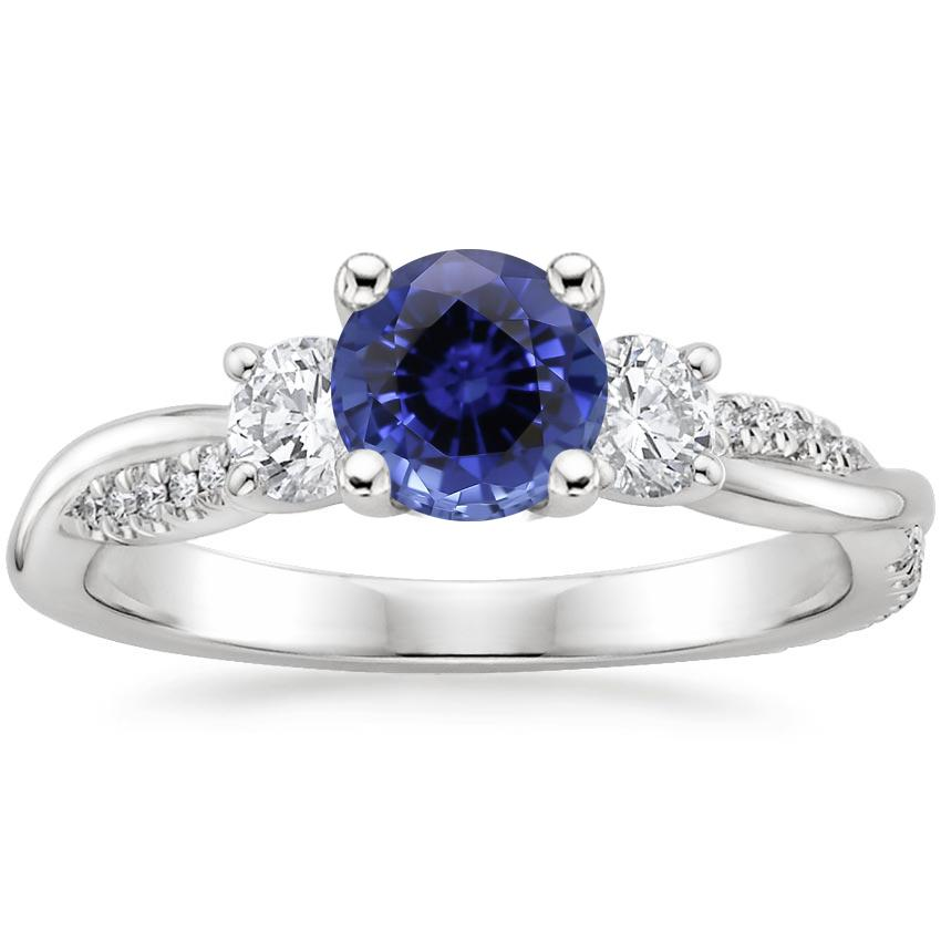 Sapphire Three Stone Petite Twisted Vine Diamond Ring (2/5 ct. tw.) in Platinum
