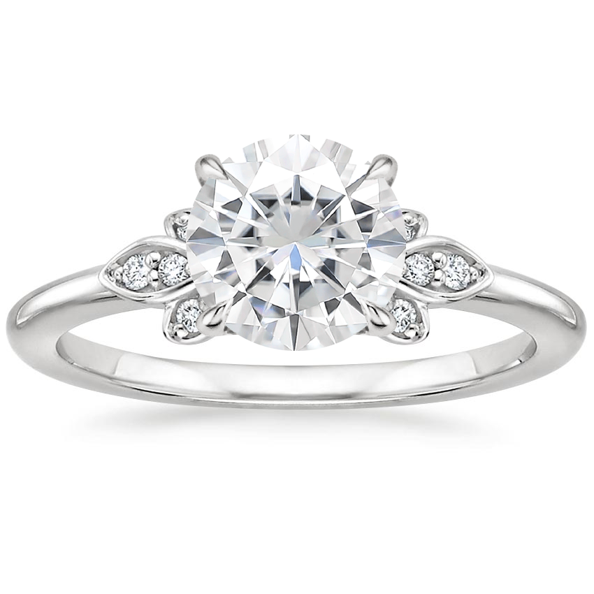 Moissanite Fiorella Diamond Ring in 18K White Gold