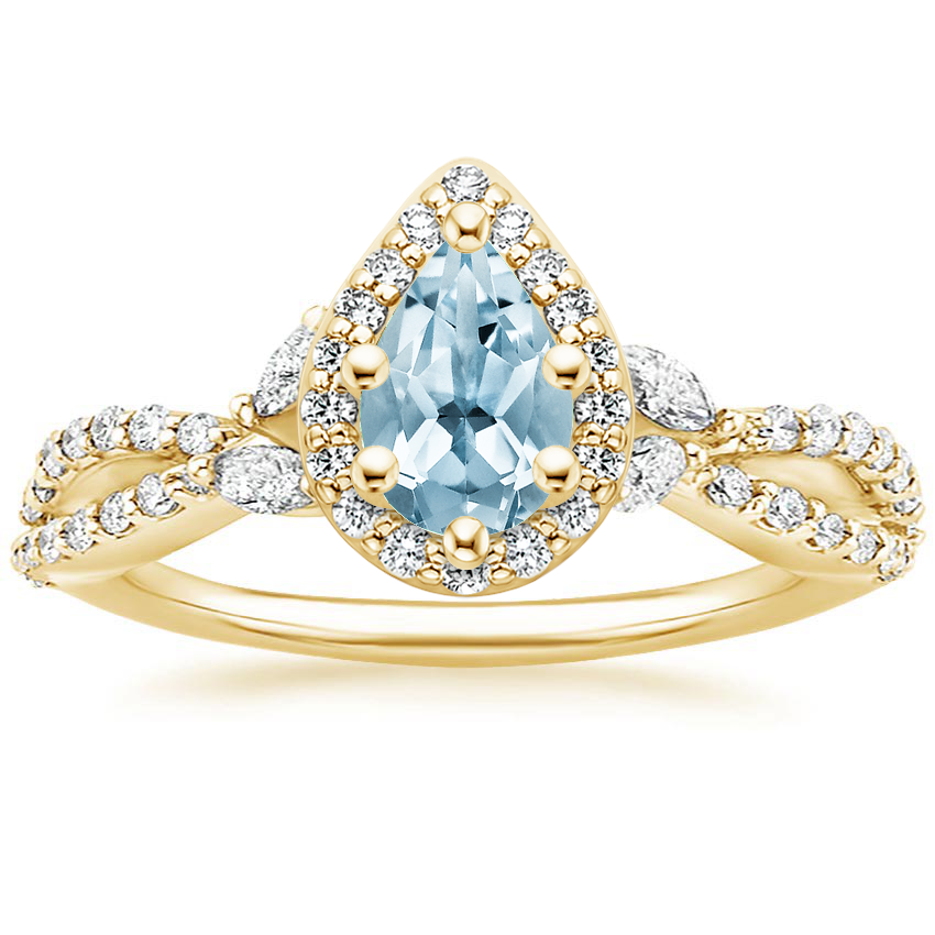 Yellow Gold Aquamarine Luxe Willow Halo Diamond Ring (2/5 ct. tw.)