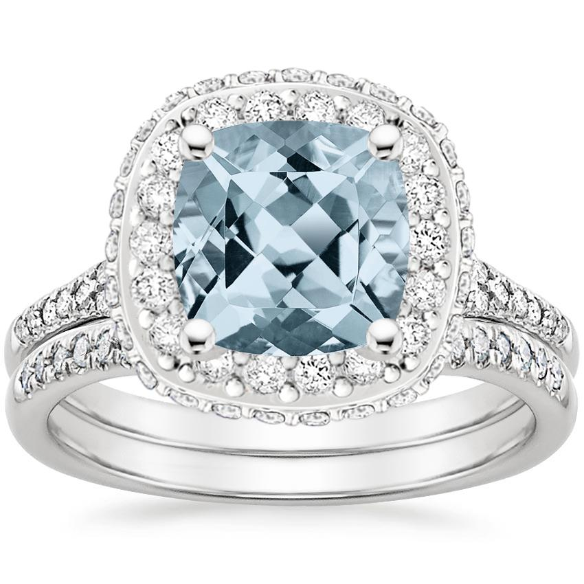 18KW Aquamarine Circa Diamond Bridal Set (1/2 ct. tw.), top view