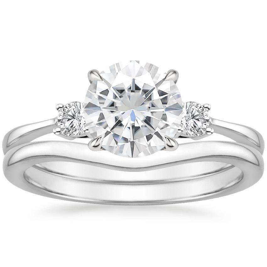18KW Moissanite Selene Diamond Ring with Petite Curved Wedding Ring, top view