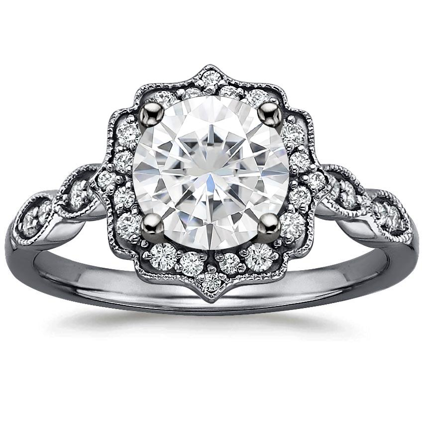 Moissanite Black Rhodium Cadenza Halo Diamond Ring in 18K White Gold