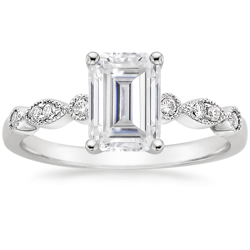 Moissanite Tiara Diamond Ring (1/10 ct. tw.) in 18K White Gold