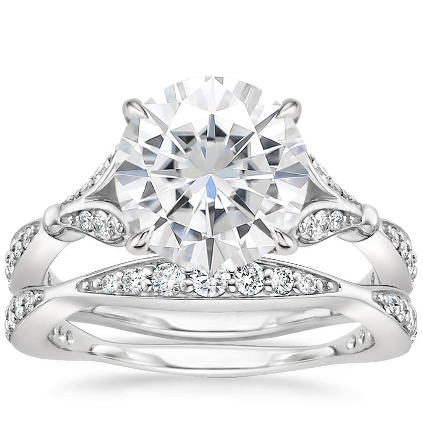 18KW Moissanite Zinnia Diamond Bridal Set (1/2 ct. tw.), top view