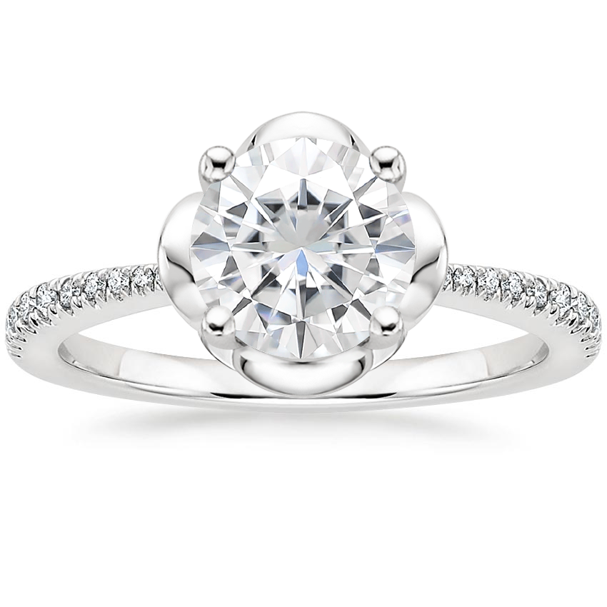 Moissanite Clover Diamond Ring in 18K White Gold