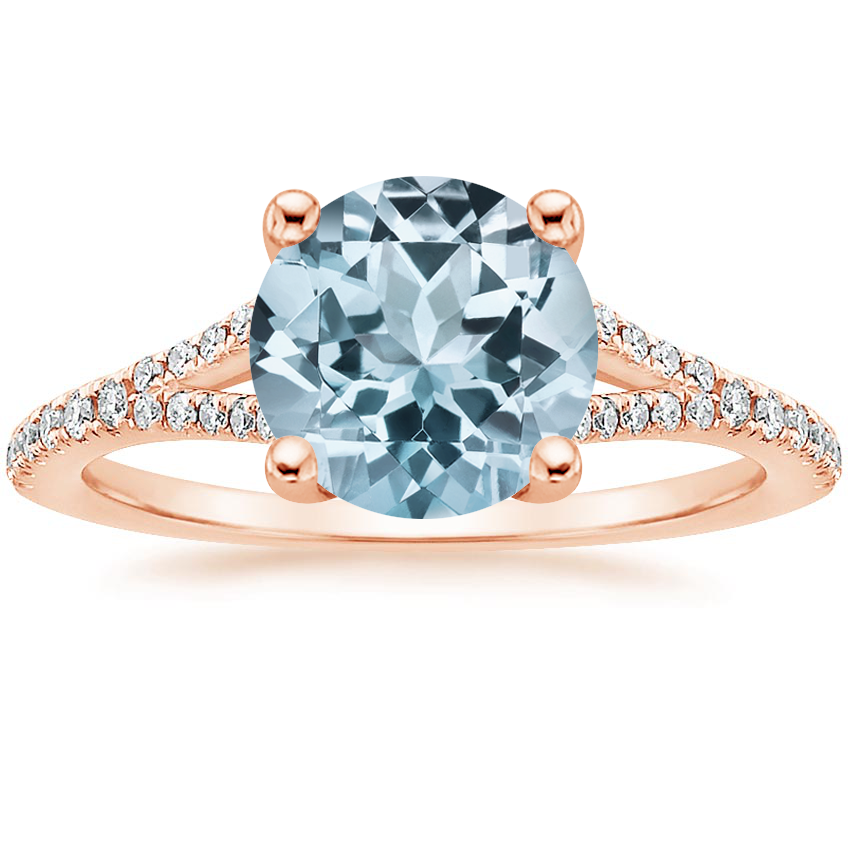 Rose Gold Aquamarine Flair Diamond Ring