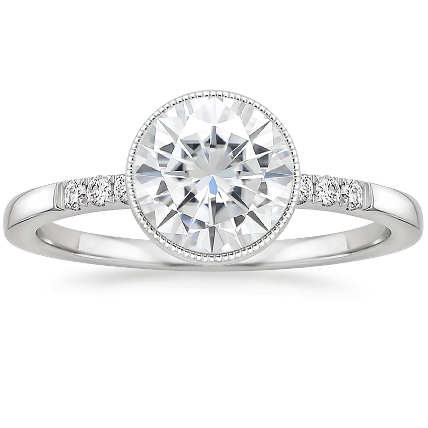 Moissanite Imogen Diamond Ring in 18K White Gold