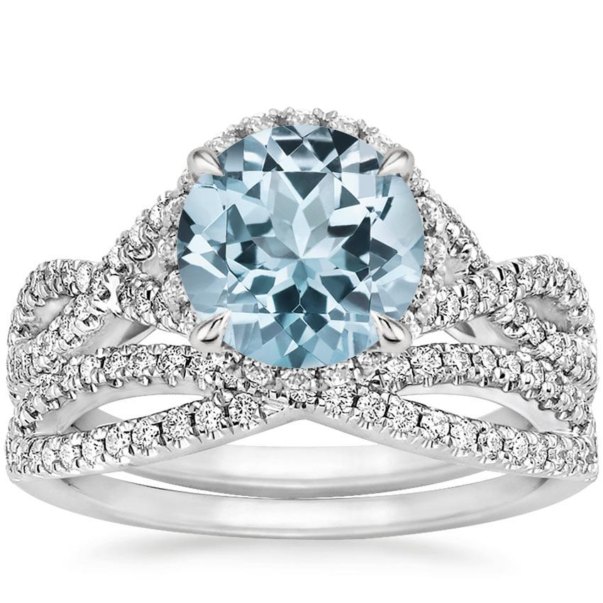 18KW Aquamarine Entwined Halo Diamond Bridal Set (1/2 ct. tw.), top view