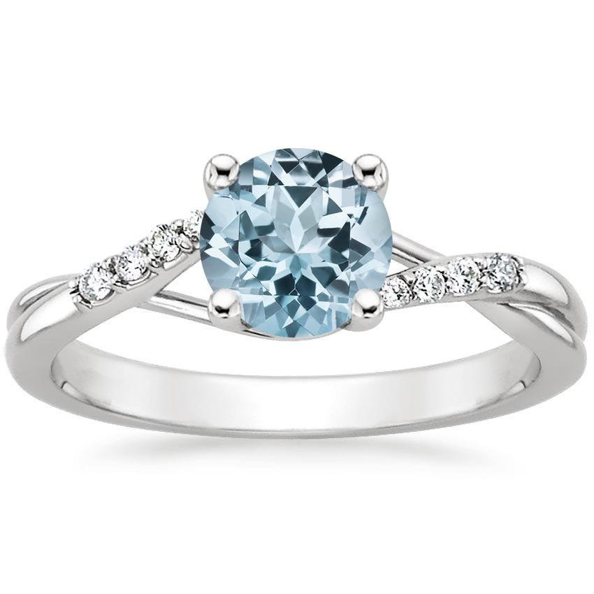 Aquamarine Chamise Diamond Ring (1/15 ct. tw.) in 18K White Gold