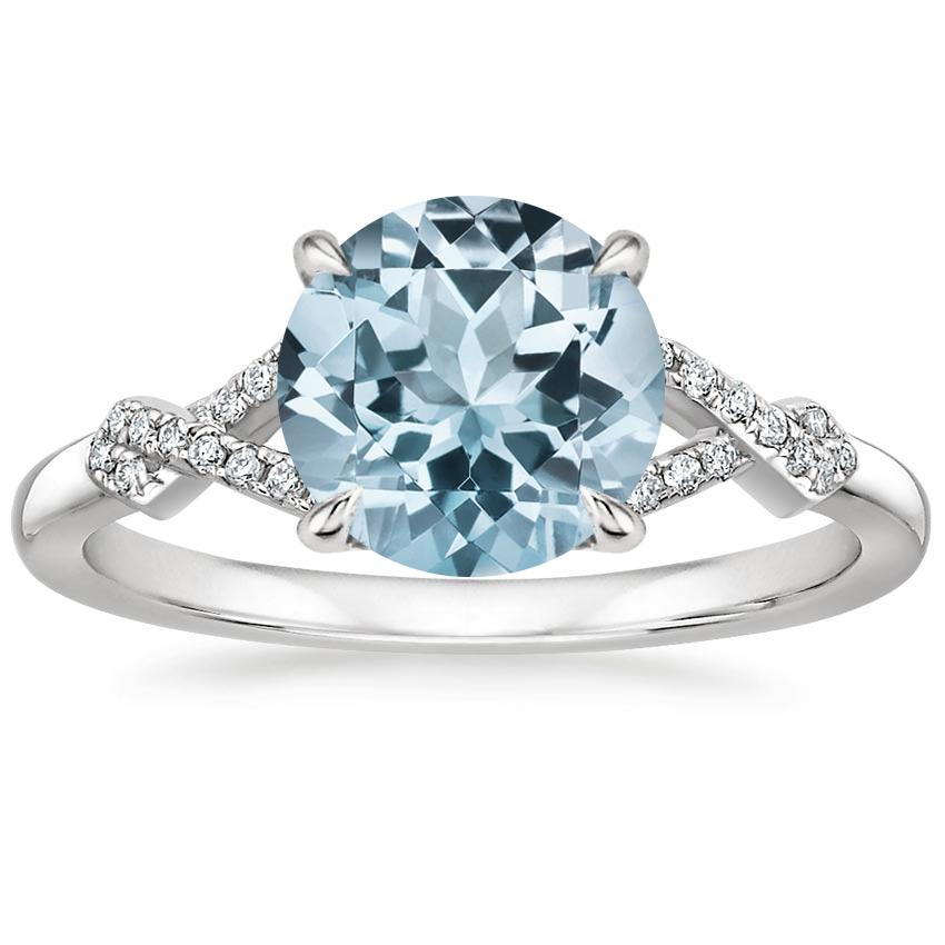 Aquamarine Vera Diamond Ring in 18K White Gold