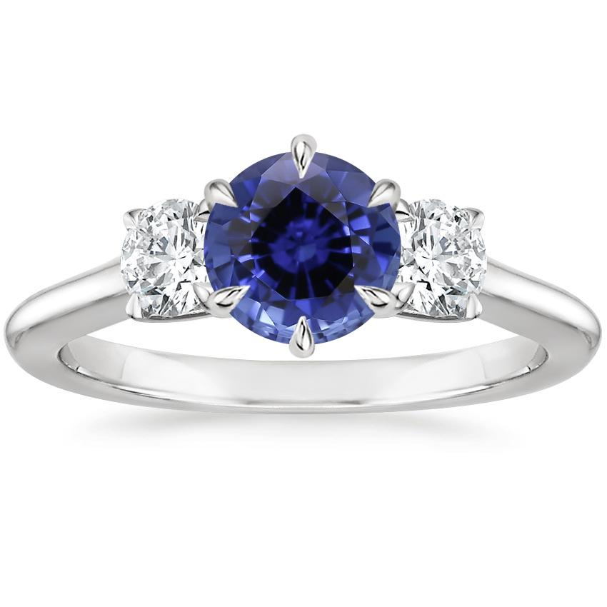 Sapphire Three Stone Catalina Diamond Ring (1/2 ct. tw.) in Platinum