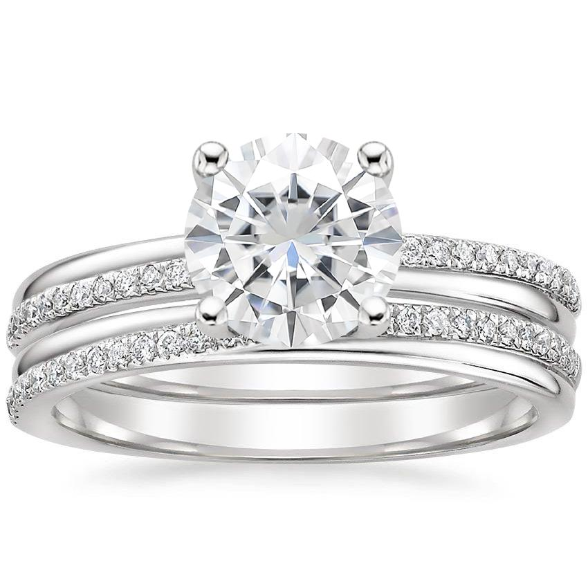 PT Moissanite Symphony Diamond Bridal Set, top view