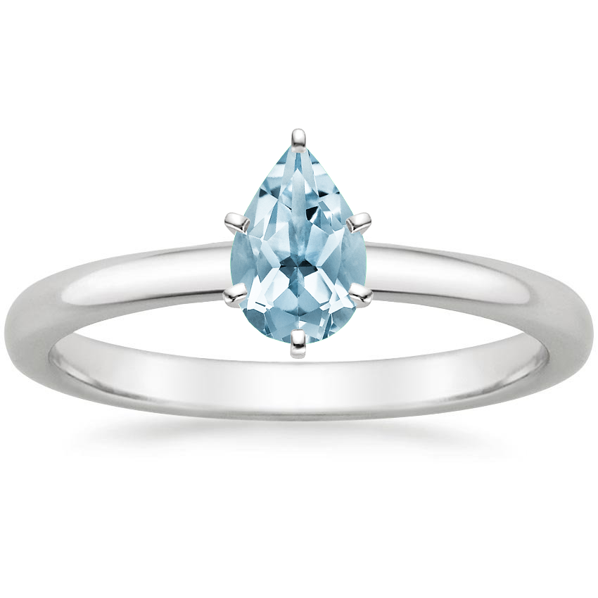 Aquamarine 2mm Comfort Fit Ring in 18K White Gold