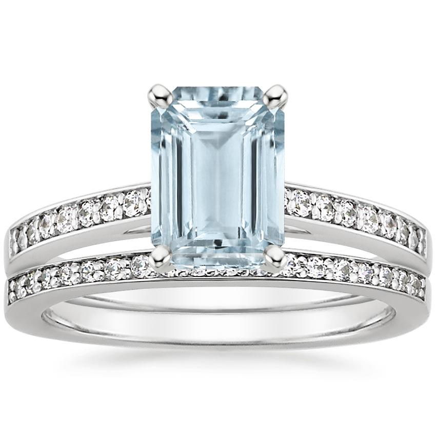 PT Aquamarine Starlight Diamond Bridal Set (1/4 ct. tw.), top view