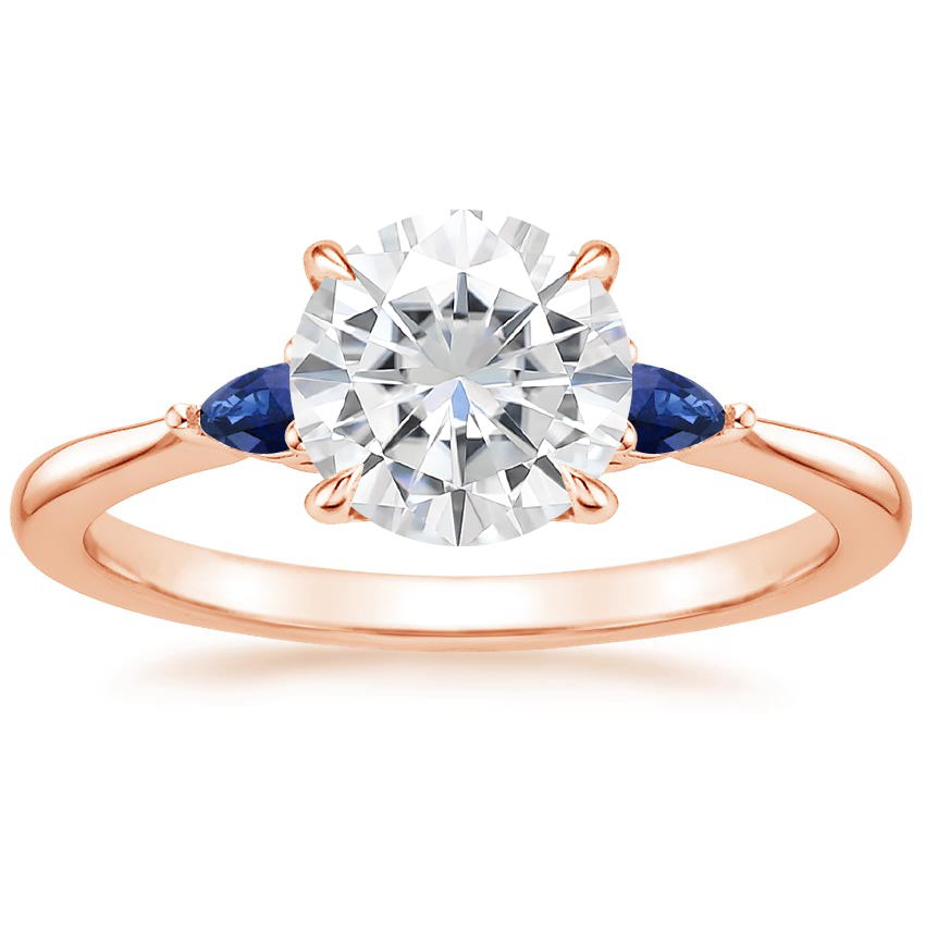 Rose Gold Moissanite Aria Ring with Sapphire Accents