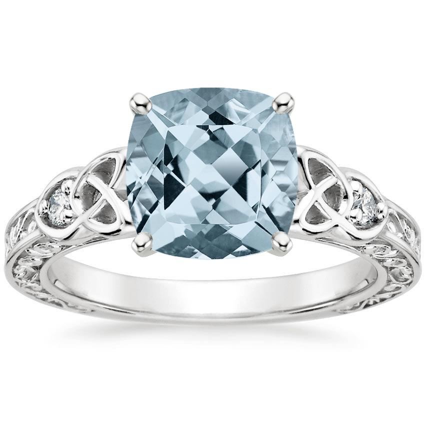 Aquamarine Aberdeen Diamond Ring in 18K White Gold