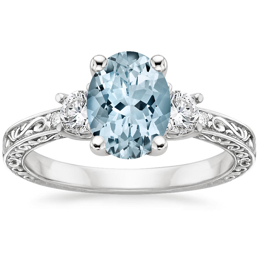 Aquamarine Antique Scroll Three Stone Trellis Diamond Ring (1/3 ct. tw.) in 18K White Gold