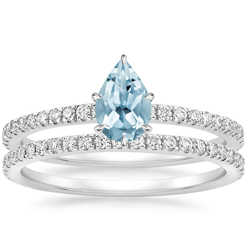 18KW Aquamarine Luxe Viviana Diamond Bridal Set (1/2 ct. tw.), top view
