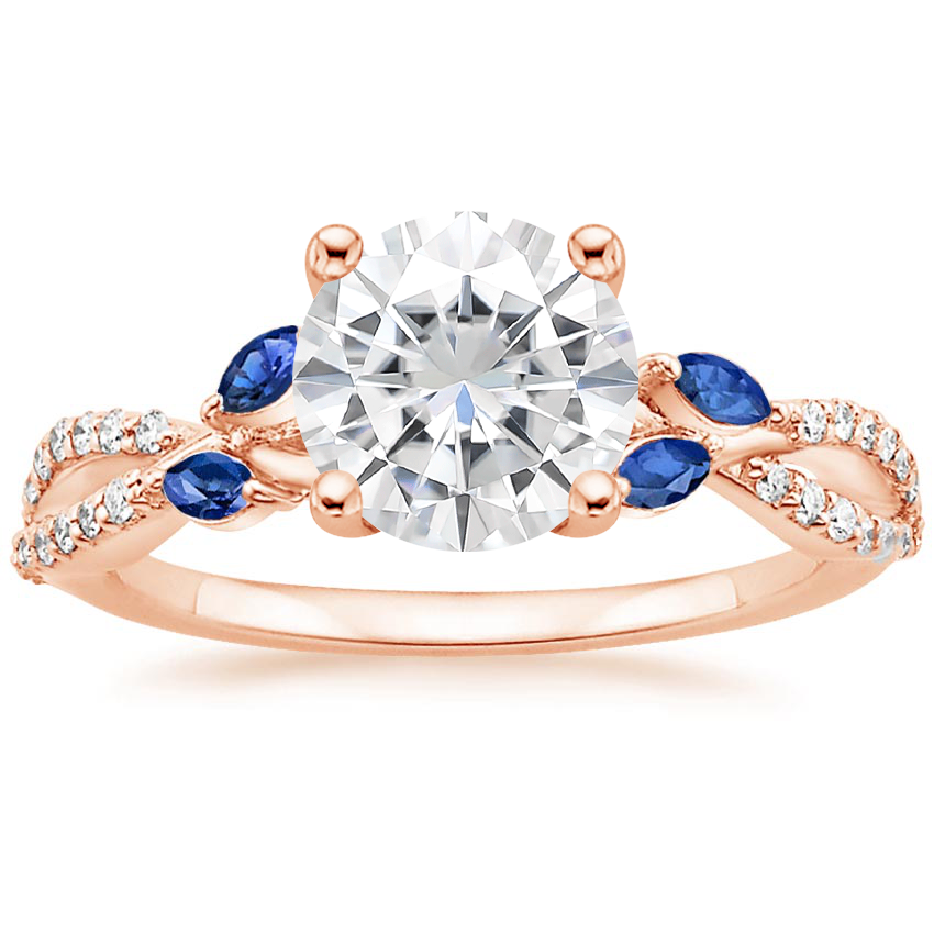 Rose Gold Moissanite Luxe Willow Sapphire and Diamond Ring (1/8 ct. tw.)