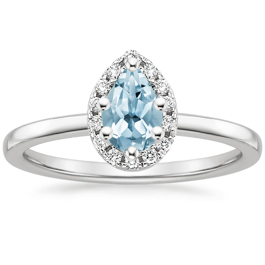 Aquamarine French Halo Diamond Ring in Platinum