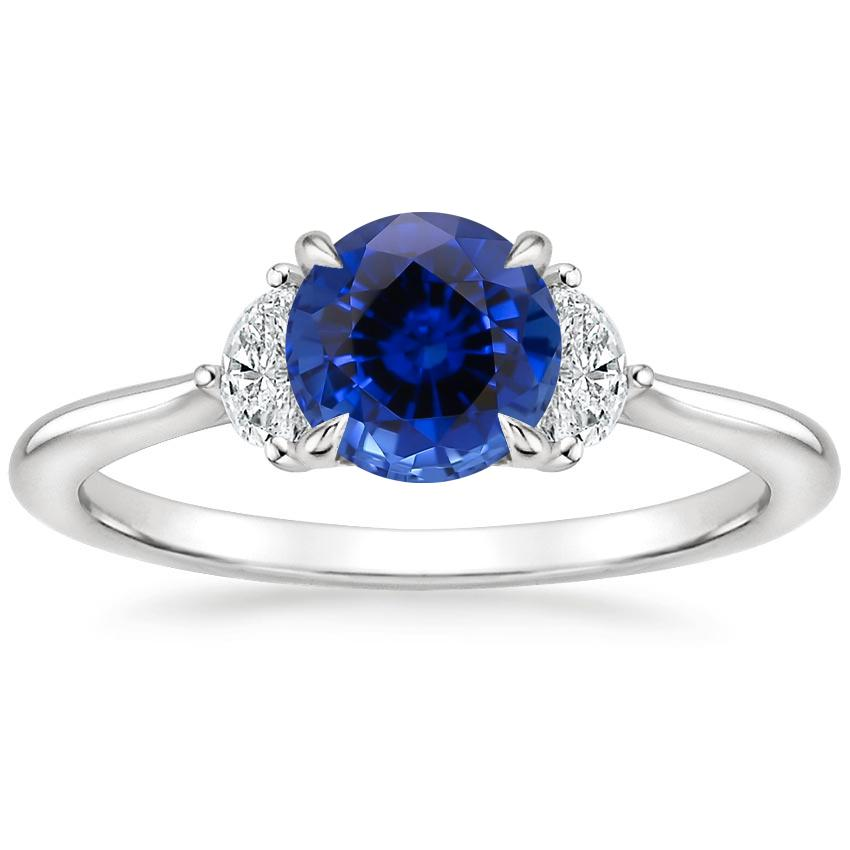 Sapphire Half Moon Diamond Ring in 18K White Gold