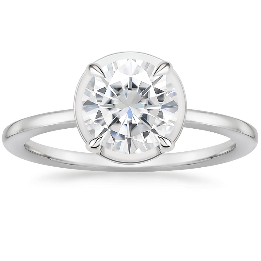 Moissanite Devon Ring in 18K White Gold