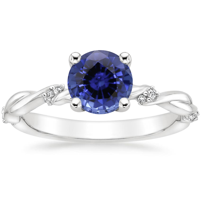 Sapphire Cleo Diamond Ring in 18K White Gold