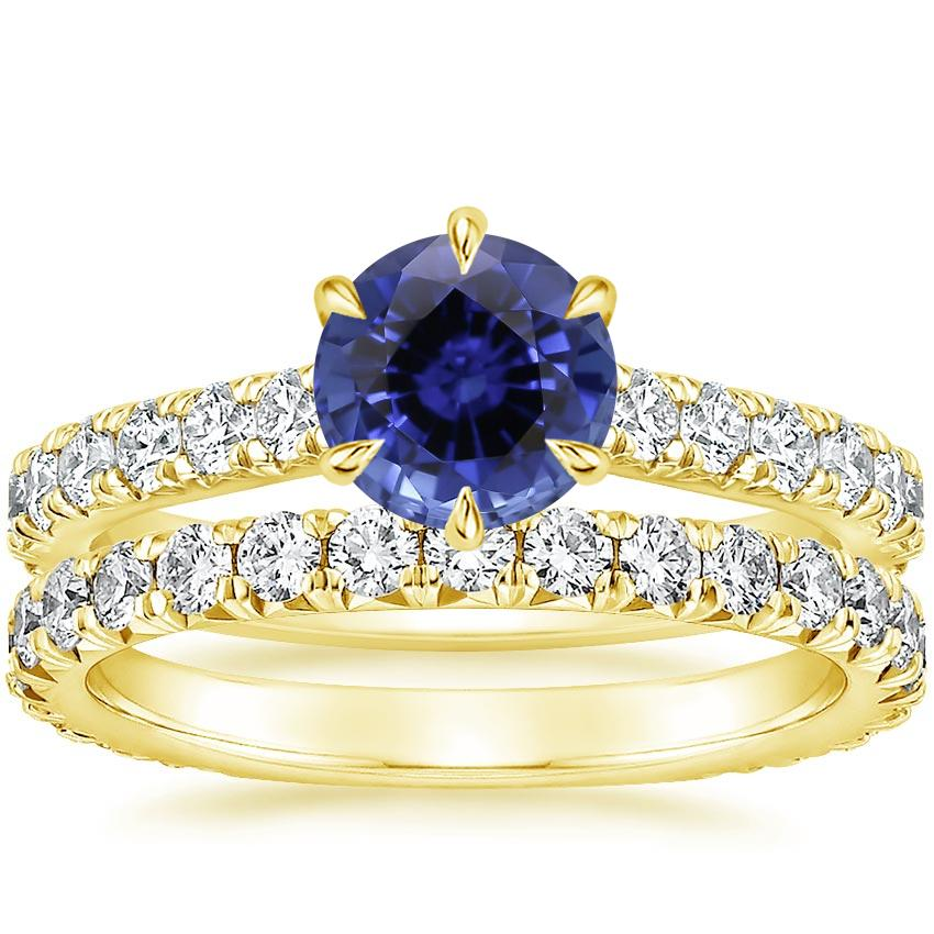 18KY Sapphire Luxe Sienna Diamond Bridal Set, top view