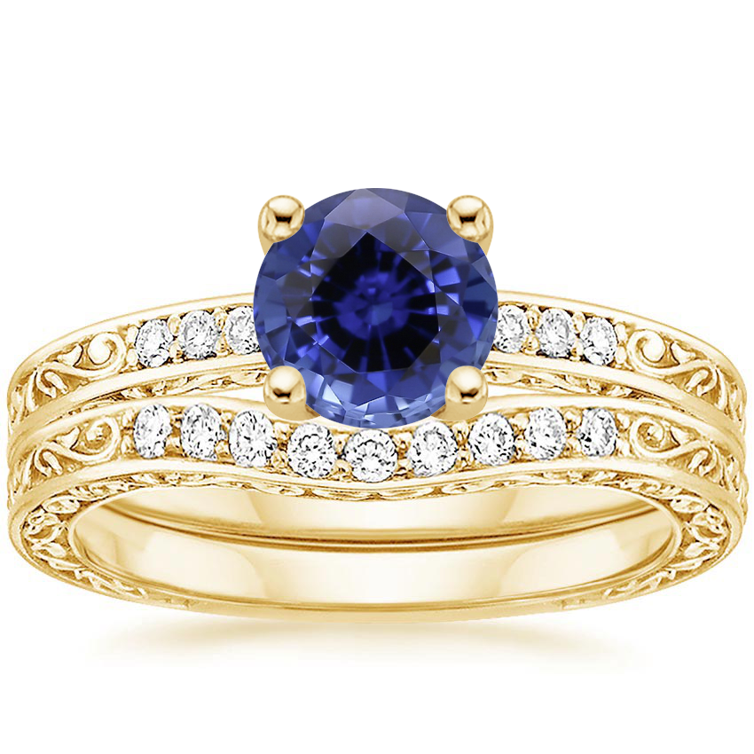 18KY Sapphire Delicate Antique Scroll Contoured Diamond Bridal Set, top view