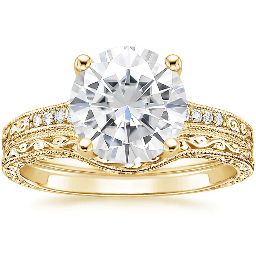 18KY Moissanite Contoured Luxe Hudson Diamond Bridal Set, top view