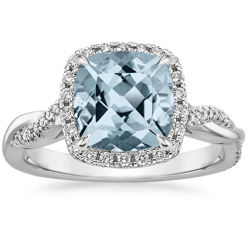 Aquamarine Petite Twisted Vine Halo Diamond Ring (1/4 ct. tw.) in 18K White Gold