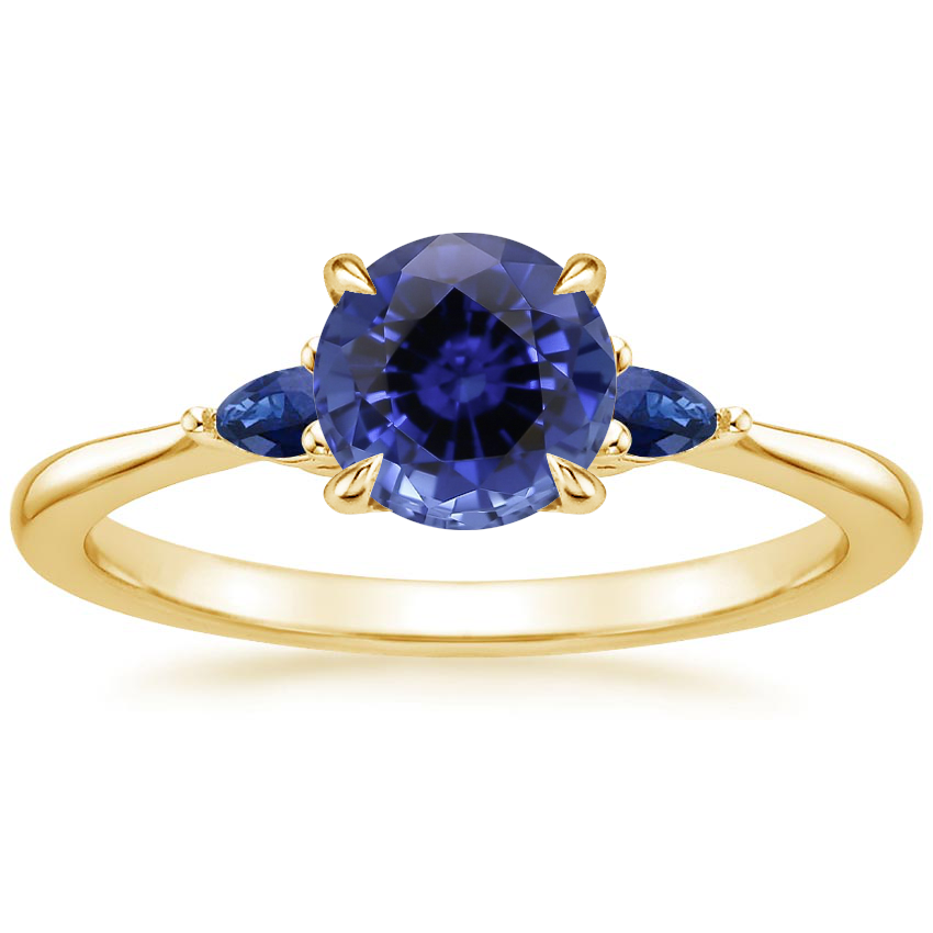 Yellow Gold Sapphire Aria Ring with Sapphire Accents