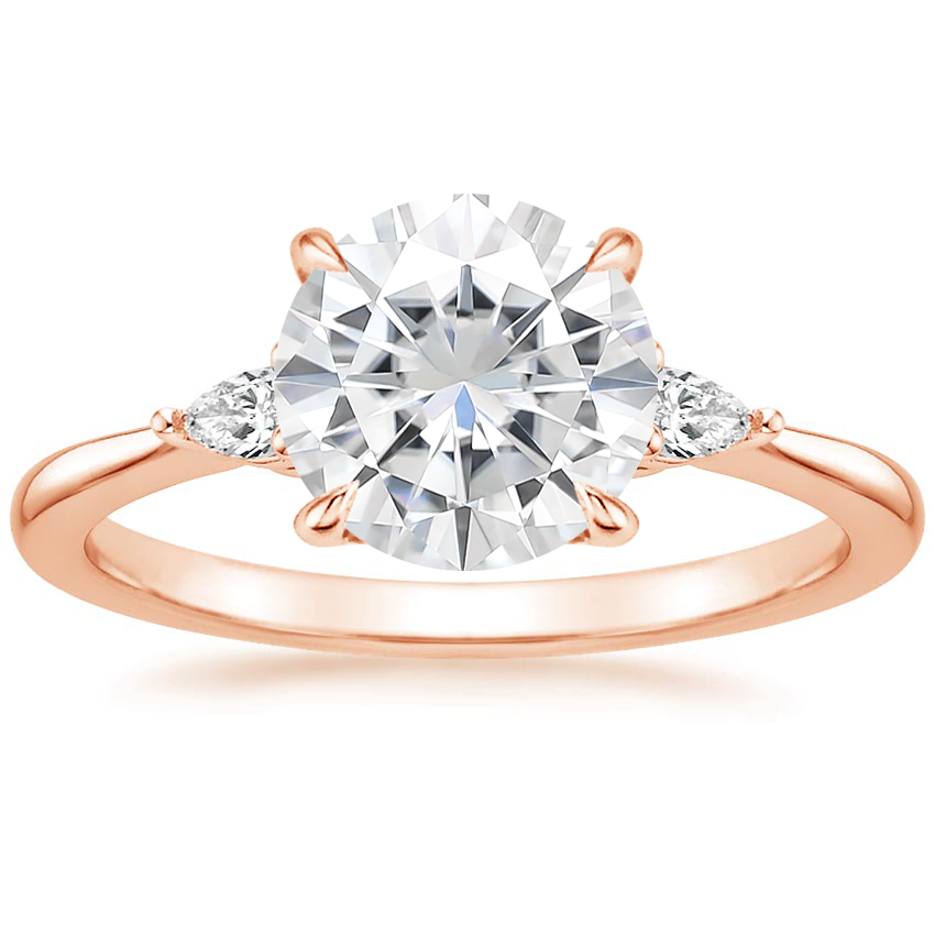 Rose Gold Moissanite Aria Diamond Ring (1/10 ct. tw.)