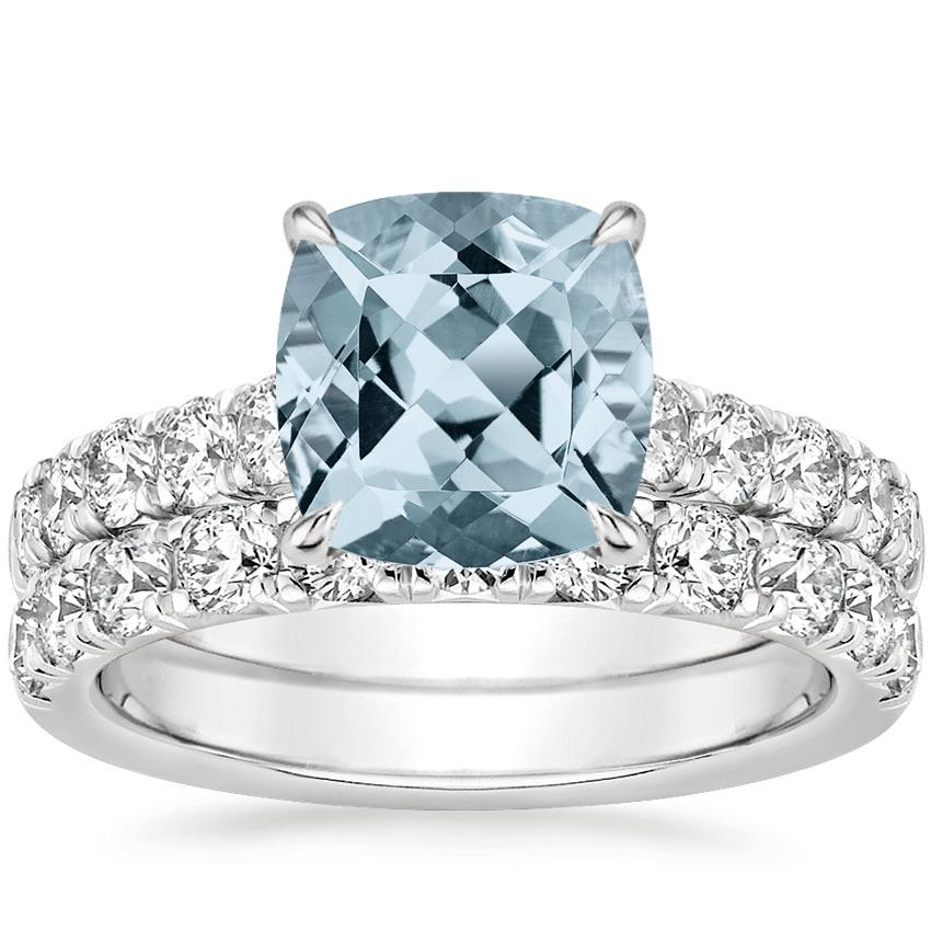 18KW Aquamarine Luxe Anthology Bridal Set (1 1/5 ct. tw.), top view