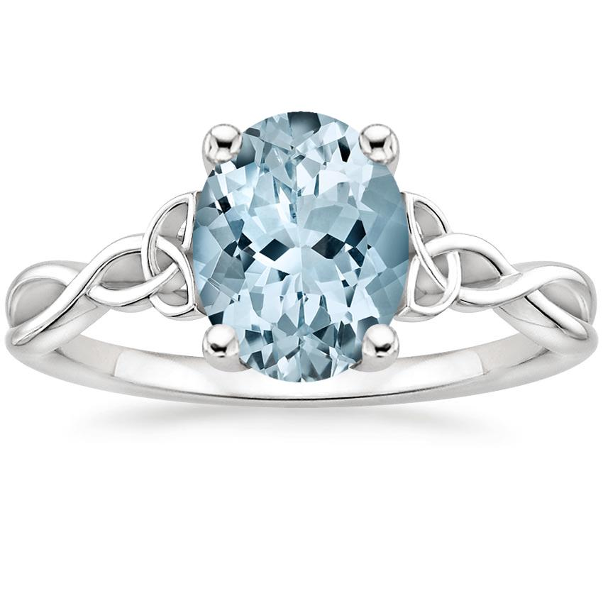 Aquamarine Entwined Celtic Love Knot Ring in 18K White Gold