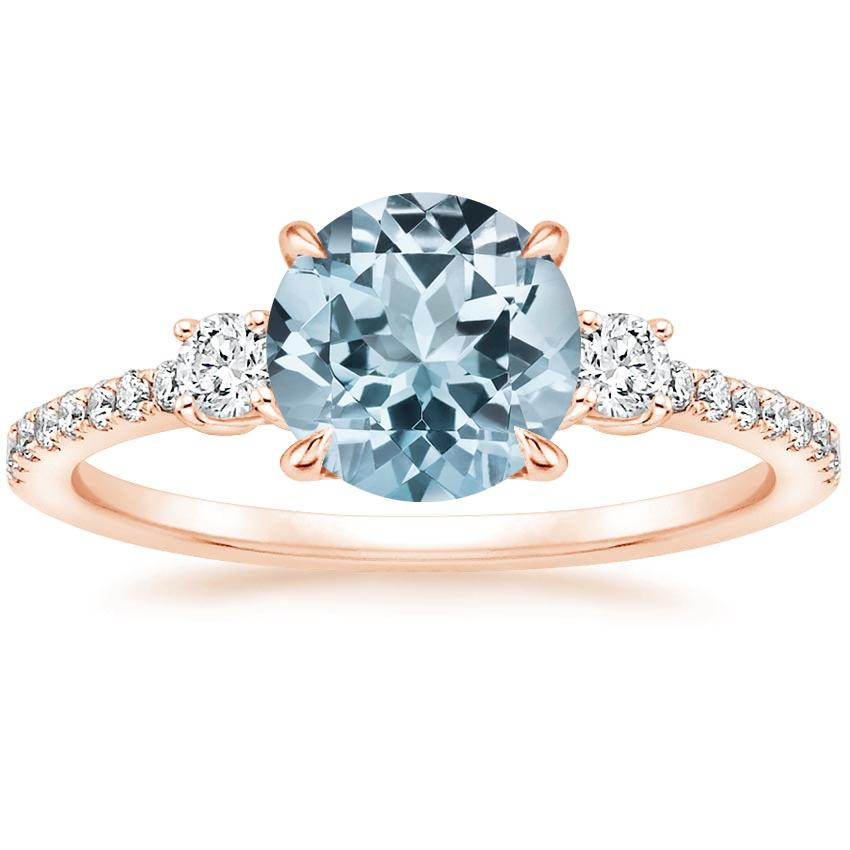 Rose Gold Aquamarine Lyra Diamond Ring (1/4 ct. tw.)