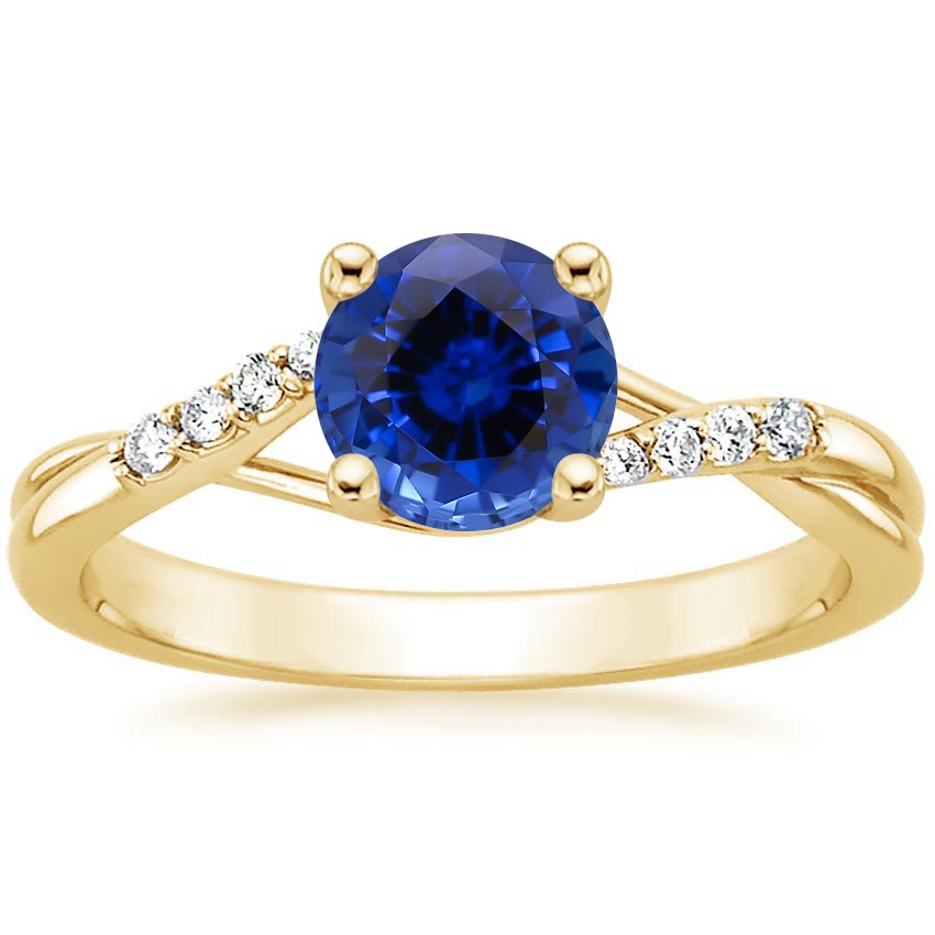 Yellow Gold Sapphire Chamise Diamond Ring