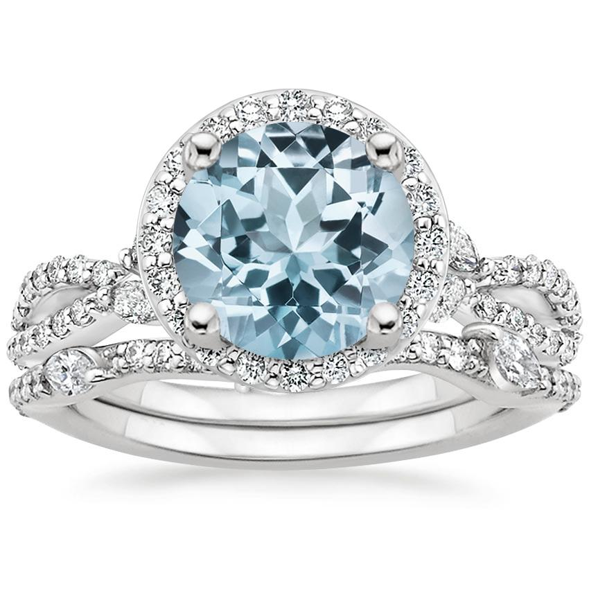 18KW Aquamarine Luxe Willow Halo Diamond Bridal Set (5/8 ct. tw.), top view