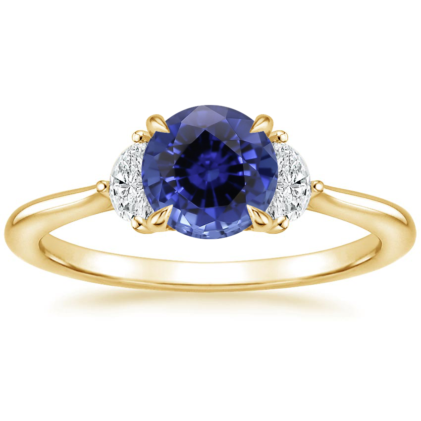 Yellow Gold Sapphire Half Moon Diamond Ring