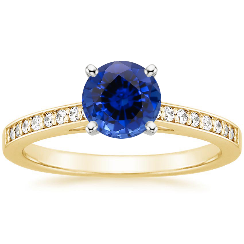 Yellow Gold Sapphire Starlight Diamond Ring