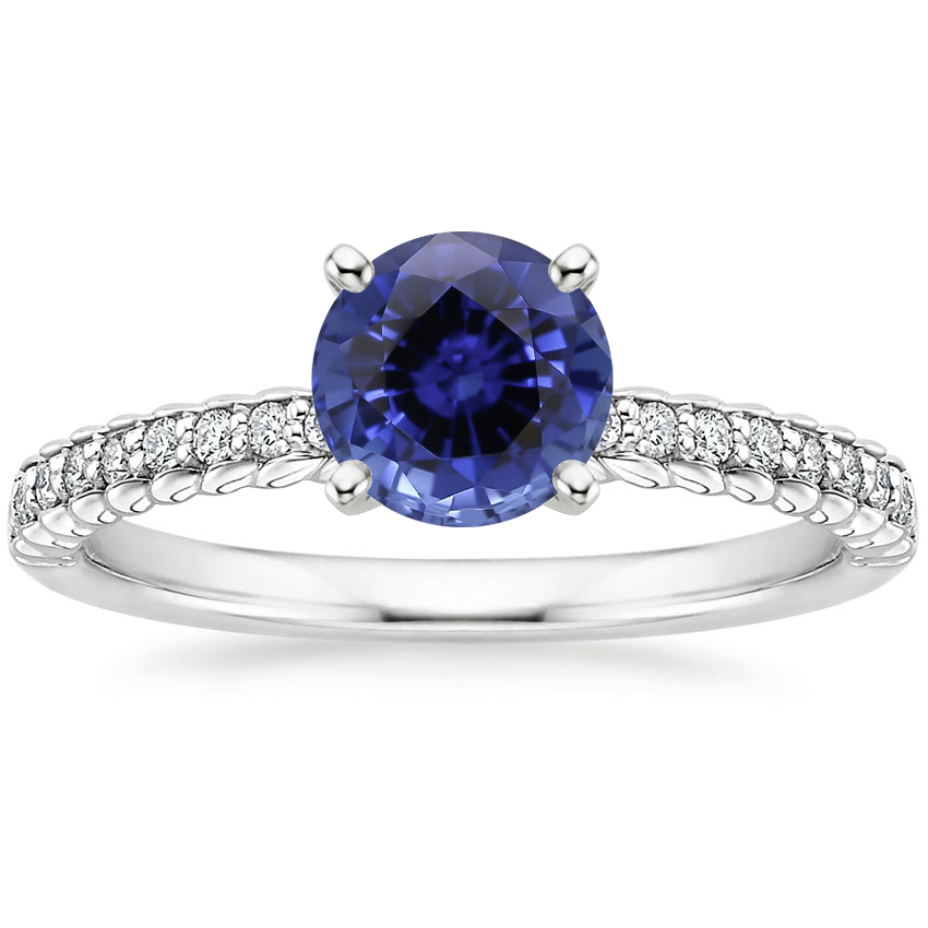 Sapphire Corda Diamond Ring in 18K White Gold
