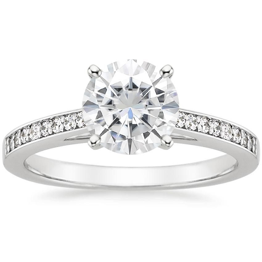 Moissanite Starlight Diamond Ring in 18K White Gold
