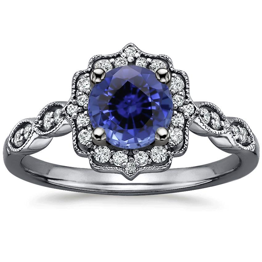 Sapphire Black Rhodium Cadenza Halo Diamond Ring in 18K White Gold