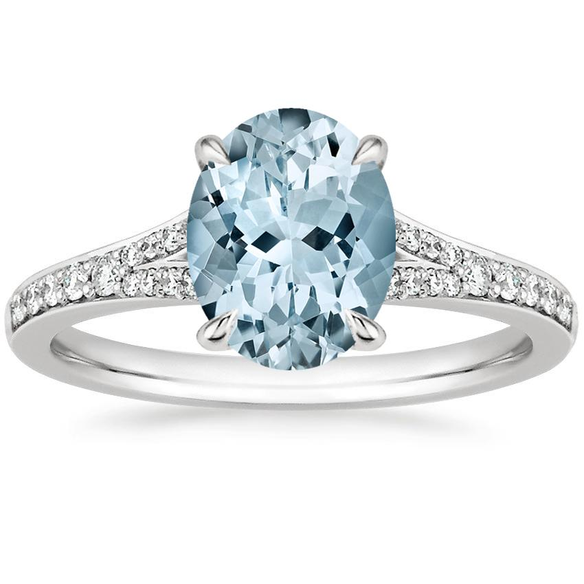 Aquamarine Duet Diamond Ring in 18K White Gold