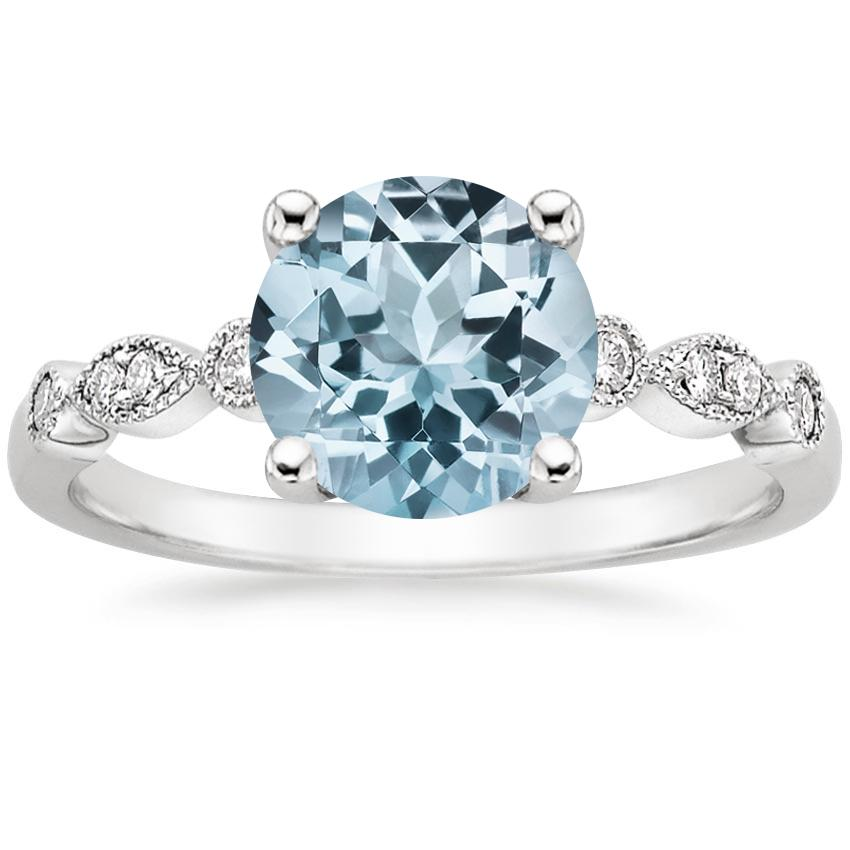 Aquamarine Tiara Diamond Ring in 18K White Gold