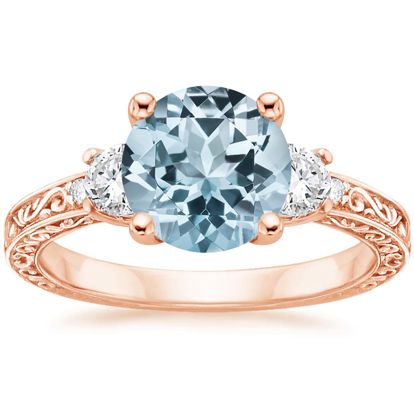 Rose Gold Aquamarine Antique Scroll Three Stone Trellis Diamond Ring (1/3 ct. tw.)