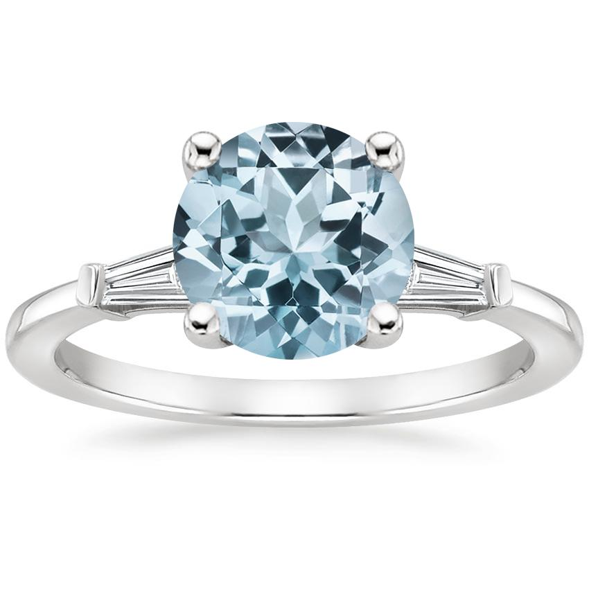 Aquamarine Tapered Baguette Diamond Ring in 18K White Gold