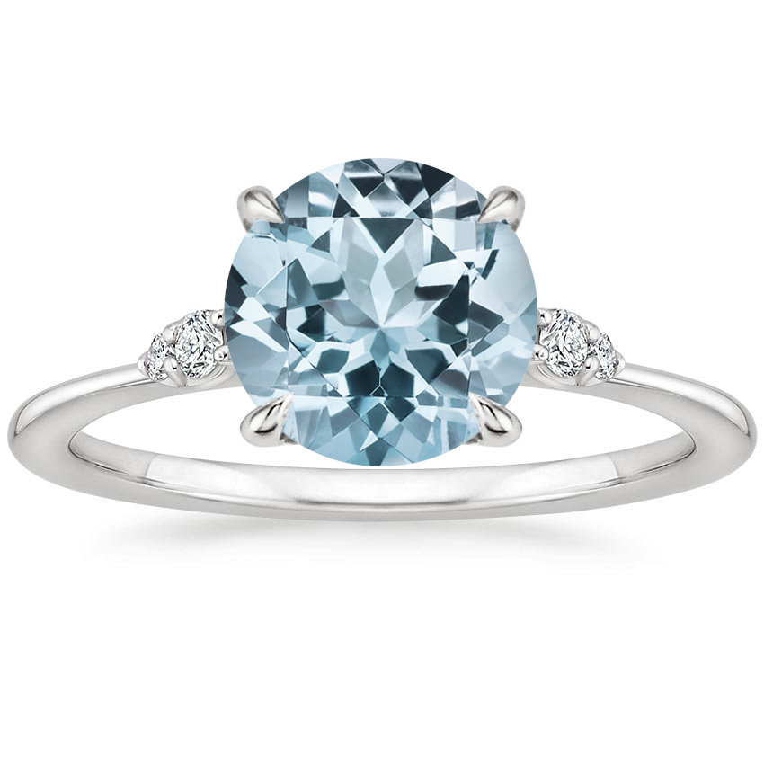 Aquamarine Colette Diamond Ring in 18K White Gold